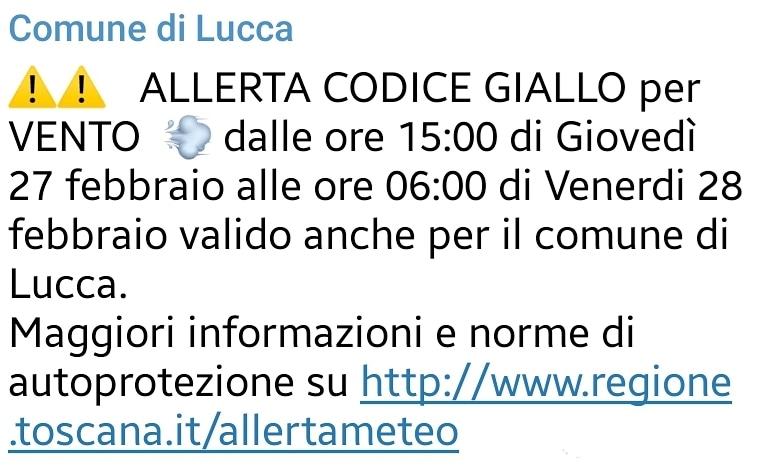 ALLERTA CODICE GIALLO VENTO