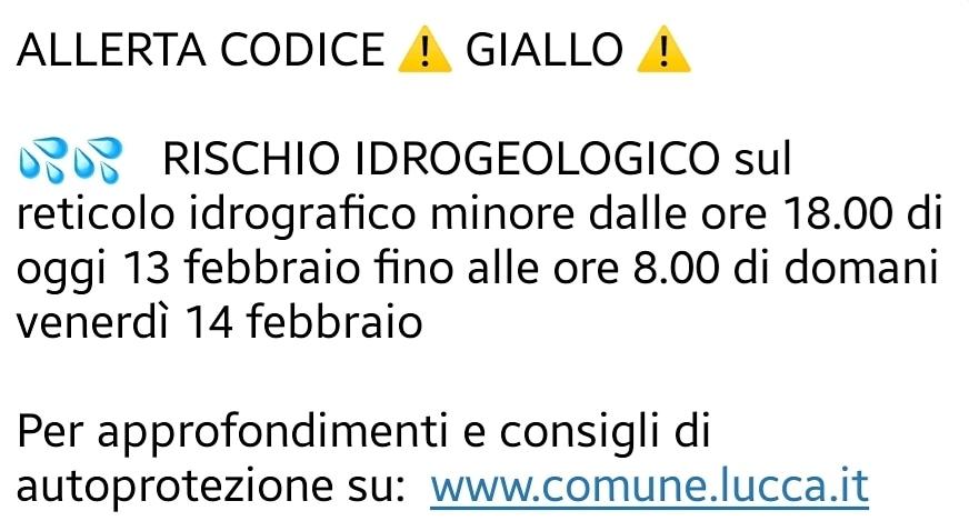 ALLERTA CODICE GIALLO