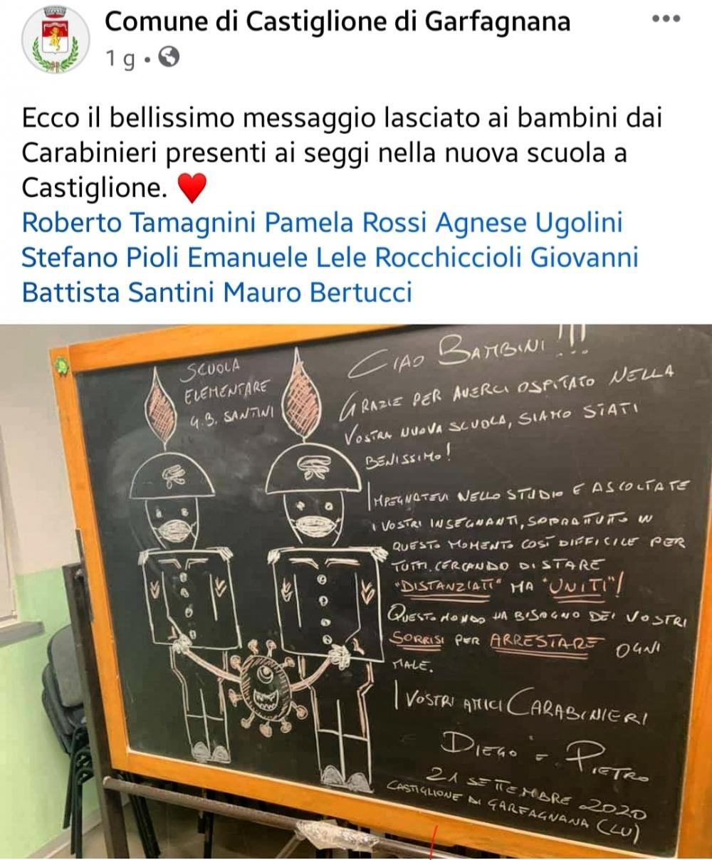 il bellissimo messaggio lasciato ai bambini dai Carabinieri