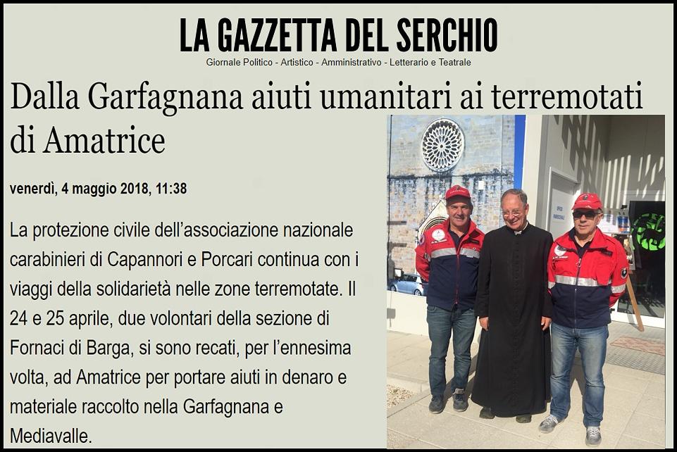 Dalla Garfagnana aiuti umanitari ai terremotati di Amatrice