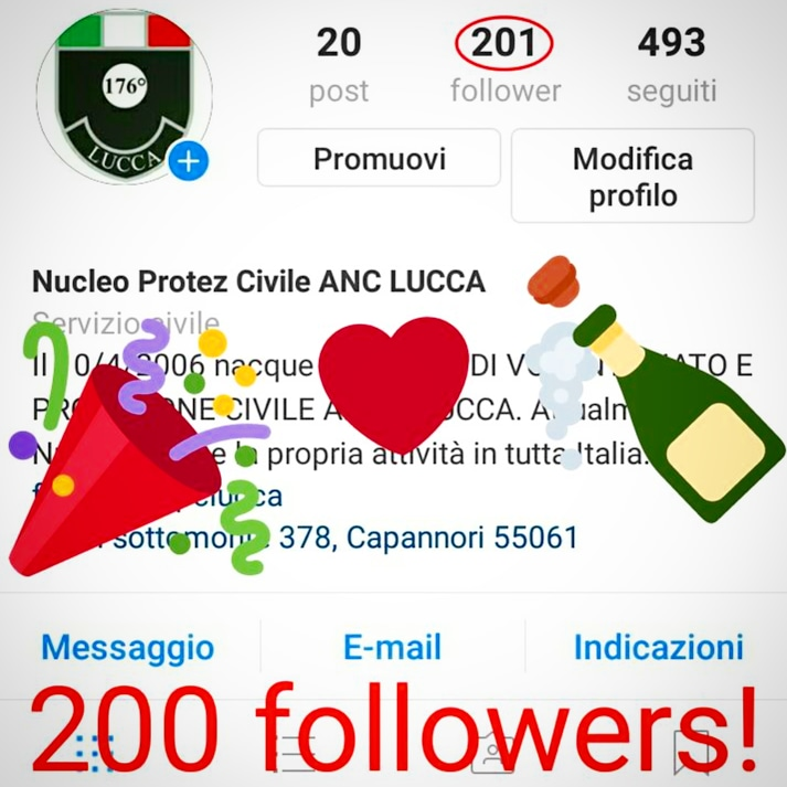 200 followers on Instagram @ancpclucca