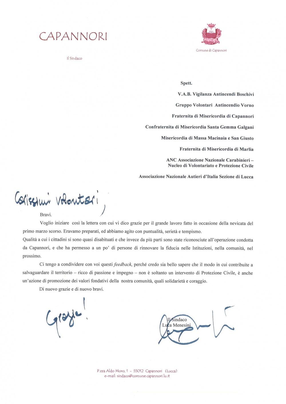 Lettera ringraziamento Sindaco Capannori - marzo 2018