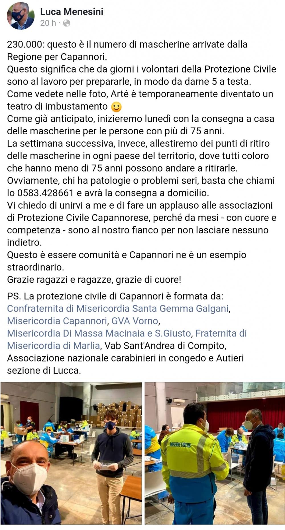 Sindaco Luca Menesini ringrazia i volontari di Protezione Civile