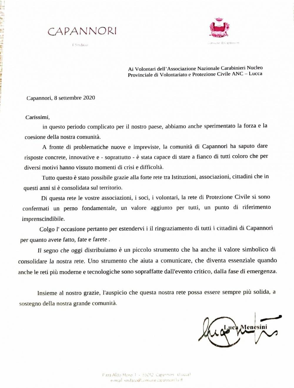 Il dono del Sindaco di Capannori alle associazioni di Prot. Civile